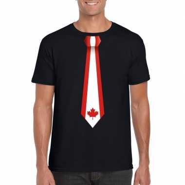 Zwart t-shirt met canada vlag stropdas heren