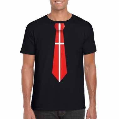 Zwart t-shirt met denemarken vlag stropdas heren