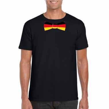 Zwart t-shirt met duitsland vlag strikje heren
