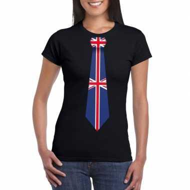 Zwart t-shirt met engeland vlag stropdas dames