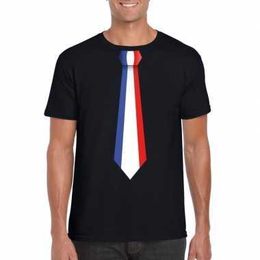 Zwart t-shirt met frankrijk vlag stropdas heren