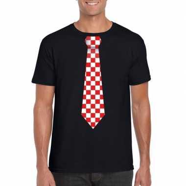 Zwart t-shirt met geblokte brabant stropdas voor heren