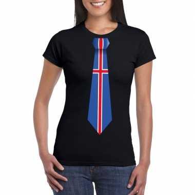 Zwart t-shirt met ijsland vlag stropdas dames