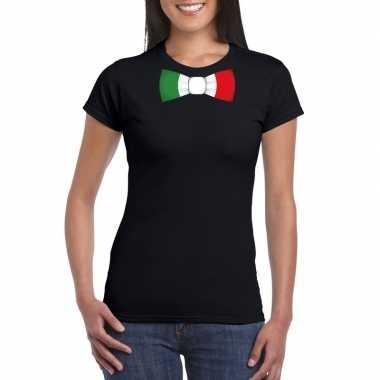 Zwart t-shirt met italie vlag strikje dames