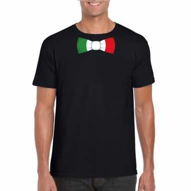 Zwart t-shirt met italie vlag strikje heren