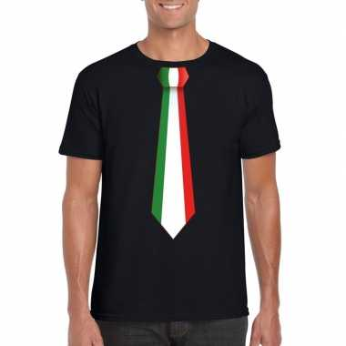 Zwart t-shirt met italie vlag stropdas heren
