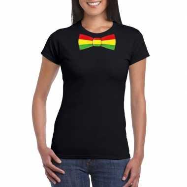 Zwart t-shirt met limburgse vlag strik voor dames