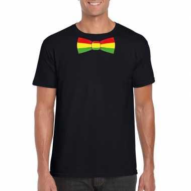 Zwart t-shirt met limburgse vlag strik voor heren