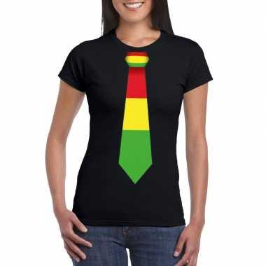 Zwart t-shirt met limburgse vlag stropdas voor dames