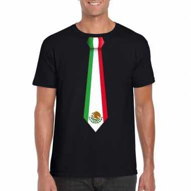 Zwart t-shirt met mexico vlag stropdas heren