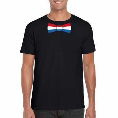 Zwart t-shirt met nederland vlag strikje heren