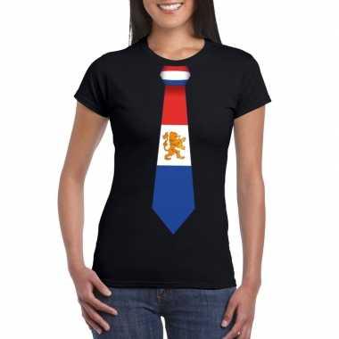 Zwart t-shirt met nederland vlag stropdas dames