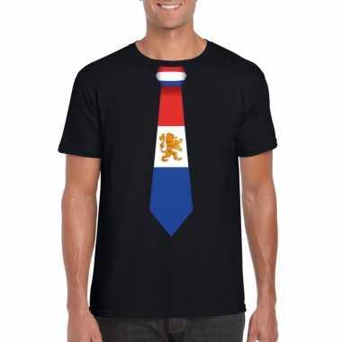 Zwart t-shirt met nederland vlag stropdas heren