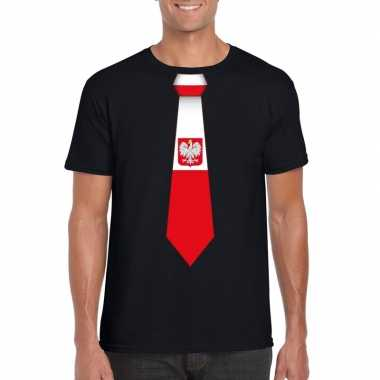 Zwart t-shirt met polen vlag stropdas heren