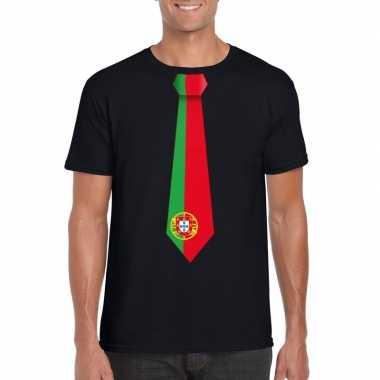 Zwart t-shirt met portugal vlag stropdas heren
