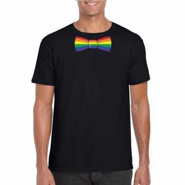 Zwart t-shirt met regenboog vlag strikje heren