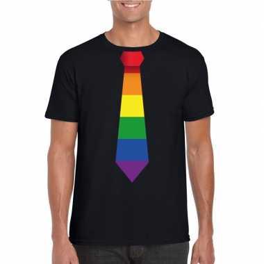 Zwart t-shirt met regenboog vlag stropdas heren