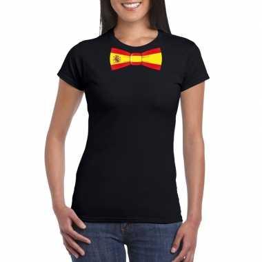 Zwart t-shirt met spanje vlag strikje dames