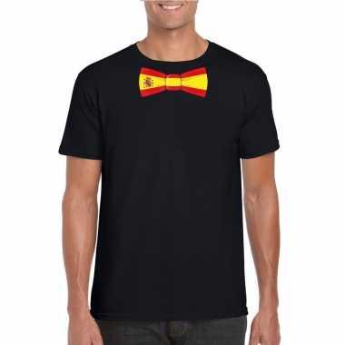 Zwart t-shirt met spanje vlag strikje heren