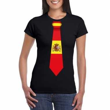 Zwart t-shirt met spanje vlag stropdas dames