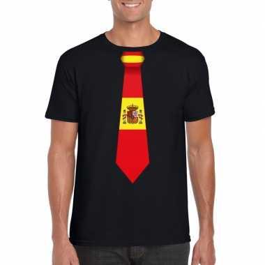 Zwart t-shirt met spanje vlag stropdas heren