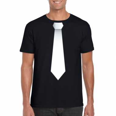 Zwart t-shirt met witte stropdas heren