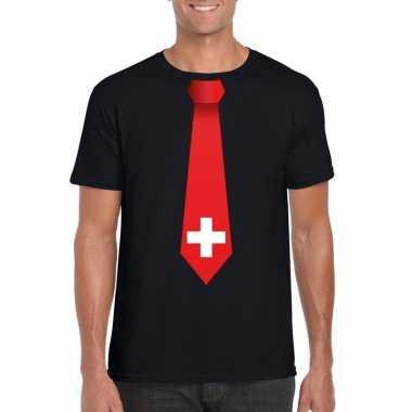 Zwart t-shirt met zwitserland vlag stropdas heren