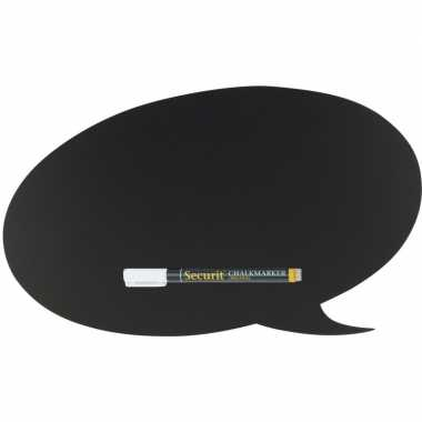 Zwart tekstwolk krijtbord 27 cm inclusief stift