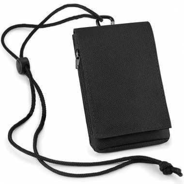 Zwart telefoon tasje met halskoord
