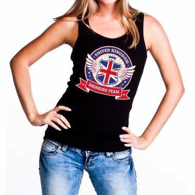 Zwart united kingdom drinking team tanktop/mouwloos shirt dames