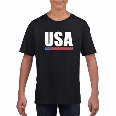 Zwart usa / amerika supporter t-shirt voor kinderen