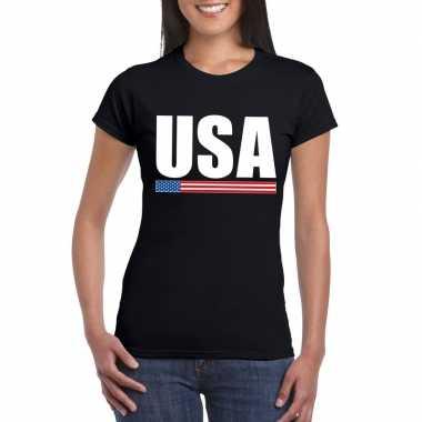 Zwart usa supporter t-shirt voor dames