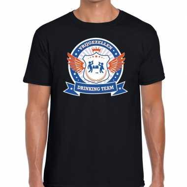 Zwart vrijgezellenfeest drinking team t-shirt blauw oranje heren