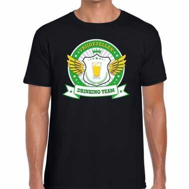 Zwart vrijgezellenfeest drinking team t-shirt groen geel heren