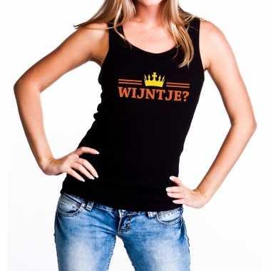 Zwart wijntje en kroon tanktop / mouwloos shirt dames