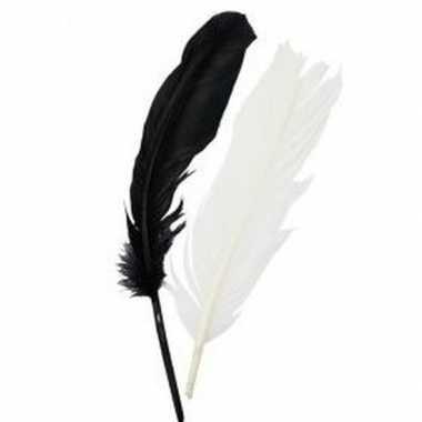 Zwart/wit indianenveren 16 cm