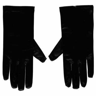 Zwarte gala handschoenen kort van satijn 20 cm