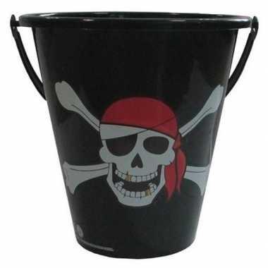 Zwarte speelgoed strandemmer piraten doodshoofd