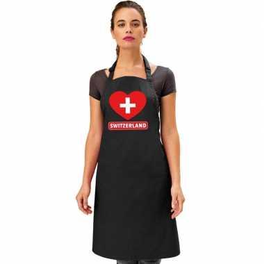 Zwitserland hart vlag barbecueschort/ keukenschort zwart