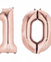 10 jaar geworden cijfer ballon rose goud