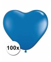 100 blauwe harten ballonnen 15 cm
