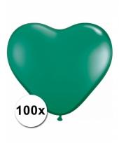 100 groene harten ballonnen 15 cm