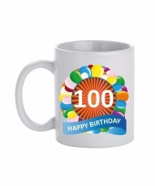 100 jaar cadeau beker 300 ml ballon thema