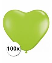 100 lime groene harten ballonnen 15 cm