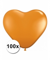 100 oranje harten ballonnen 15 cm