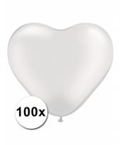 100 witte harten ballonnen 15 cm