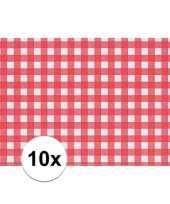 10x placemat rood wit geblokt 43 x 30 cm