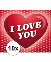 10x romantische valentijnskaart i love you met hartjes