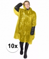 10x wegwerp regen poncho geel