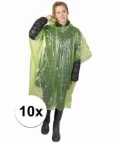 10x wegwerp regen poncho groen